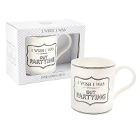 I WISH I WAS OUT PARTYING Fun Boxed China Mug